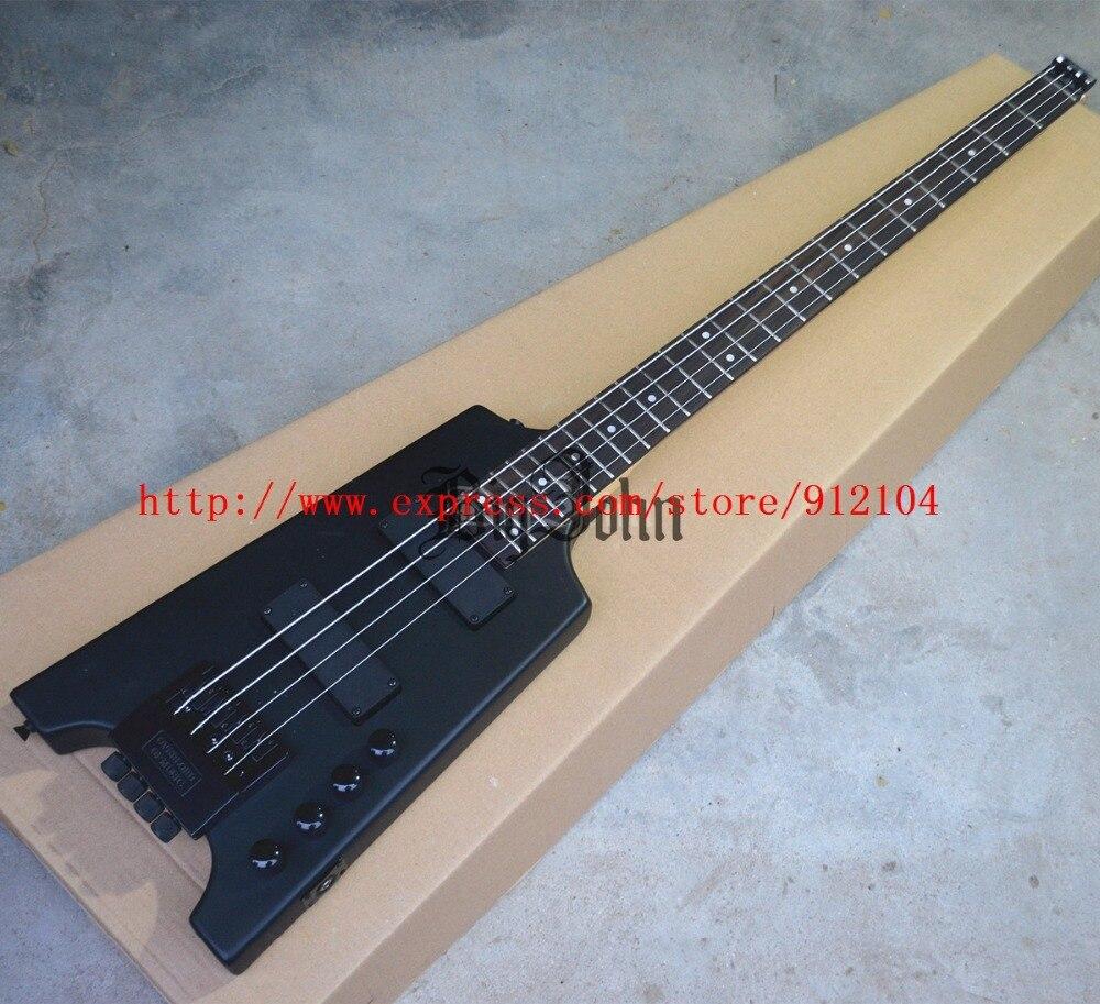 Nouveau 4 cordes guitare basse électrique sans tête noir mat BJ-123