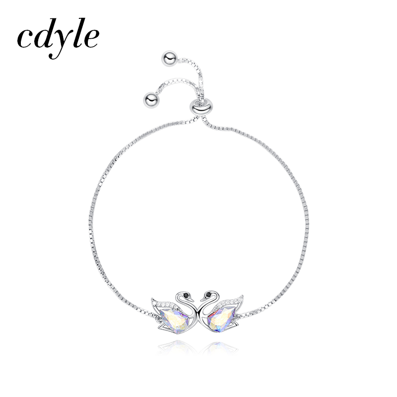 2dcdaa25f Cdyle Crystals from Swarovski Women Bracelets & Bangles Couple Swan  Austrian Rhinestone S925 Sterling Silver Fashion Jewelry