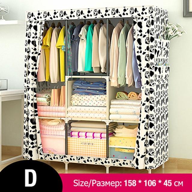 Multi-purpose Non-woven Cloth Wardrobe Fabric Closet Portable Folding Dustproof Waterproof Clothing Storage Cabinet Furniture 2