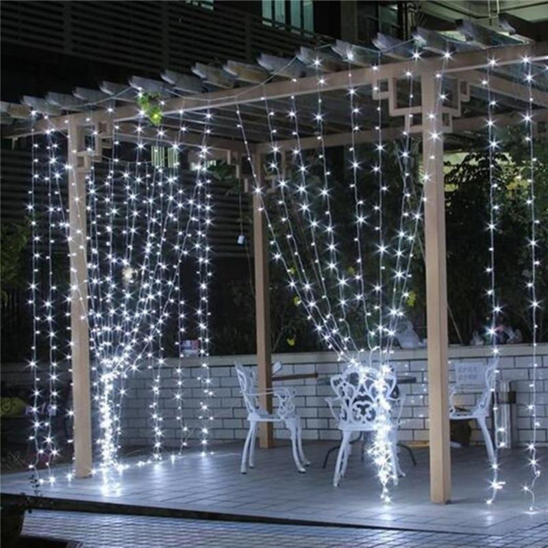 3mX3m 300 LED Curtain String Fairy Light Nulb xmas Christmas Outdoor Wedding Garden Garland Party Decor White/Purple