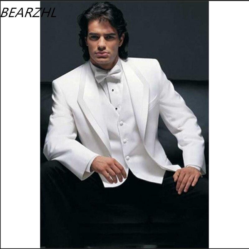 western wedding suits groom tuxedo white slim fit three piece suit ...
