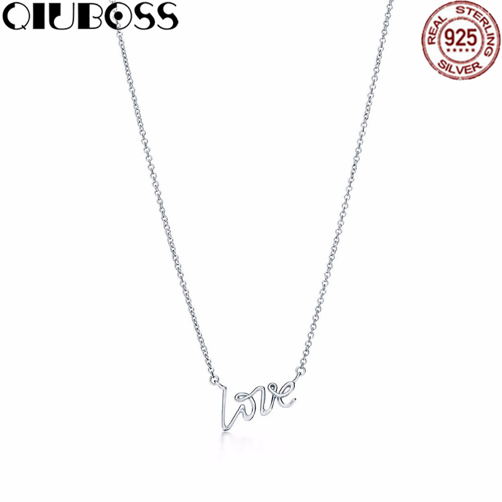 QIUBOSS Fashion TIFF 925 Sterling Silver LOVE Pendant Necklace Pendants & Necklaces Women Jewelry цены
