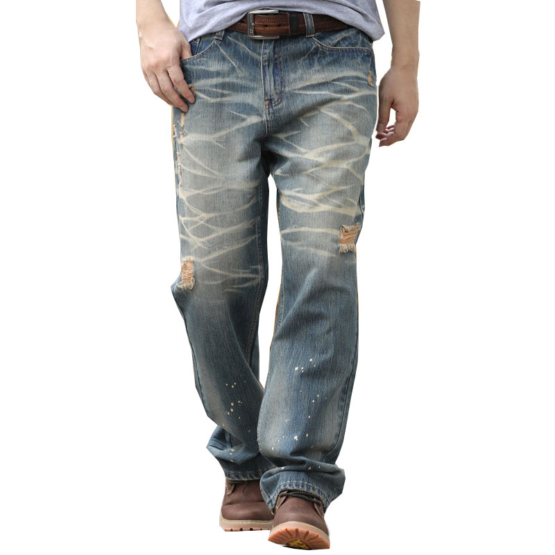 New Fashion Brand   Jeans   Men Straight Loose Large Size 28-36 38 40 42 44 Retro Men's Trousers Big Pocket Hole Long Pants