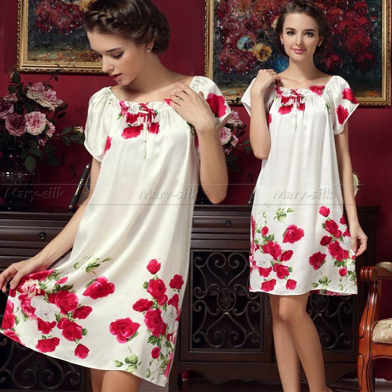 Womens 100 Silk PJS Sleepwear Sleepshirts Nightdress Lingerie Nightskirt Nightie Loungewear S M L XL