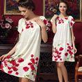 Женская 100% Шелк PJS Пижамы Трусы Рубашки Белье Loungewear Nightskirt Ночная Сорочка Sml XL