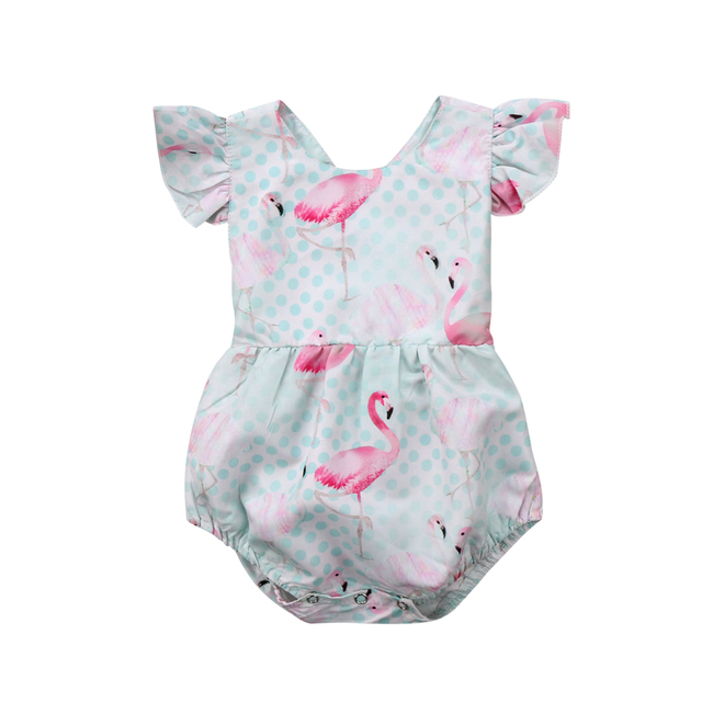 c56e1fcb1850c Newborn Infant Kids Baby Girls Romper Flamingo Baby Rompers Jumpsuit Clothes  Outfits