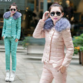 Winter Fashion warm Women woolen down Jackets Coat and pants  suits set parkas jacket coat suit 2 pieces suits sets jacket pants