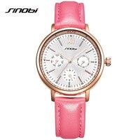 SINOBI Brand Women Watches Genuine Leather Qaurtz Reloj Mujer Luxury Dress Watch Ladies Quartz Rose Gold