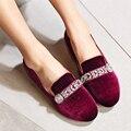 Mulheres mocassins sapatos flats tamanho 34-43 Primavera/Outono sapatos de camurça da vaca mulher flats casual Moda rhinestone cristal sapatos mulher