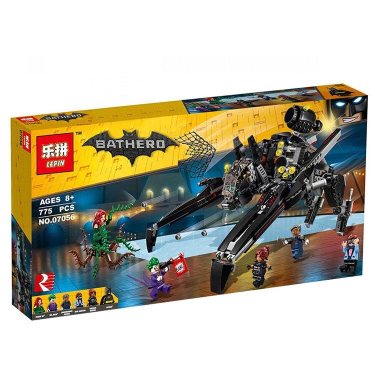 ФОТО lepin 07056 New 775Pcs Genuine Batman Movie Series The Scuttler Bat Spaceship Set Building Blocks Bricks Education Toys 70908
