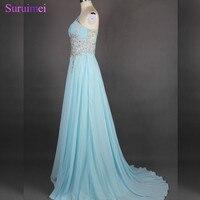 Ánh sáng Màu Xanh Dài Evening Dresses Voan Đính Cườm Thạch One Shoulder Evening Gown Formal