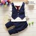 QYSZ Nice Baby Boys Waistcoat Sets 0-5T Children Clothing Sets Good Sale Fashion Plaid Business Suit For Boys