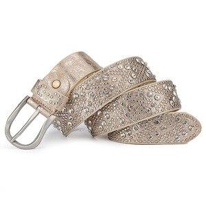 Image 4 - Rivet Vintage Luxury Designer Punk Set Auger Belts Women High Quality Female Genuine Real Leather Waist Handmade Strap for Jeans