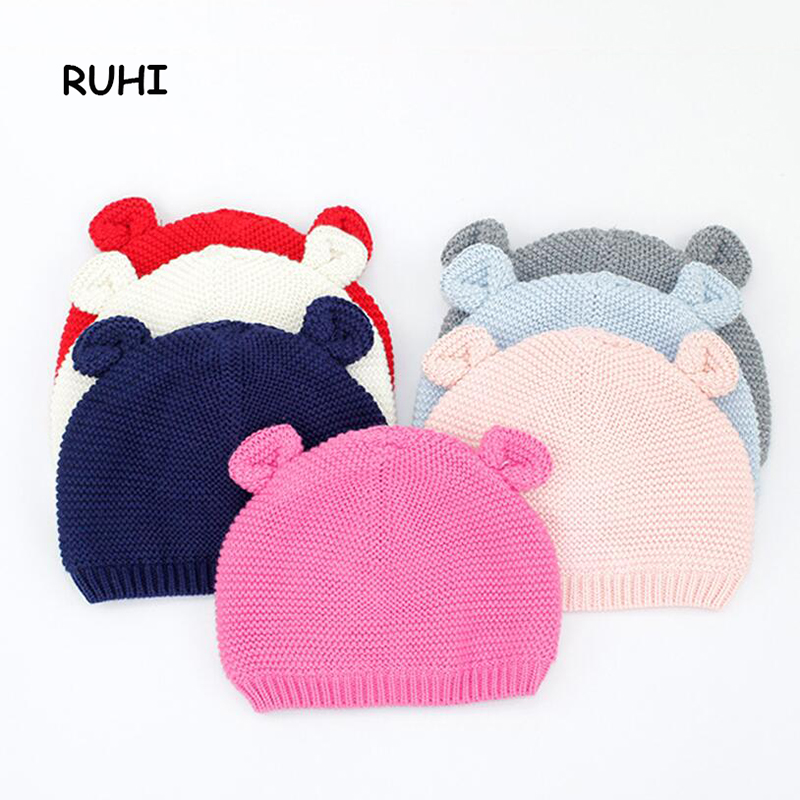 7 Colors Newborn Baby Hat Autumn Spring Winter Boys Girls Warm Cute Hats Lovely Bear Cotton Cap for Kids BMZ 72 doubchow adults womens mens teenages kids boys girls cartoon animal hats cute brown bear plush winter warm cap with paws gloves page 7