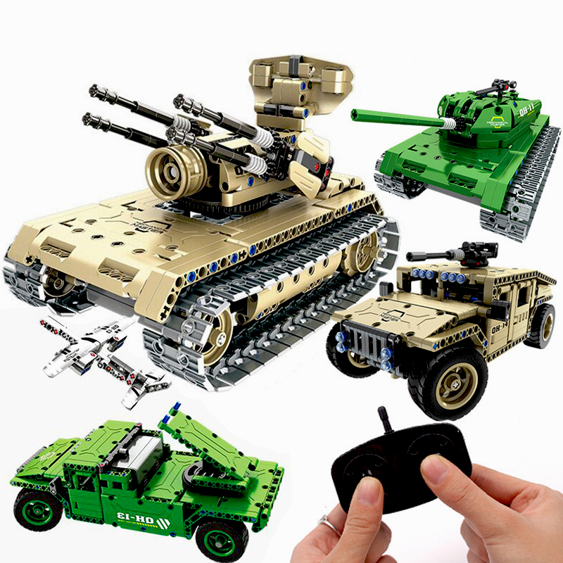 Creative DIY Assembled Building Block Military Car Model Vehicles Toy With Remote Control RC Cars Toys For Kids 2018