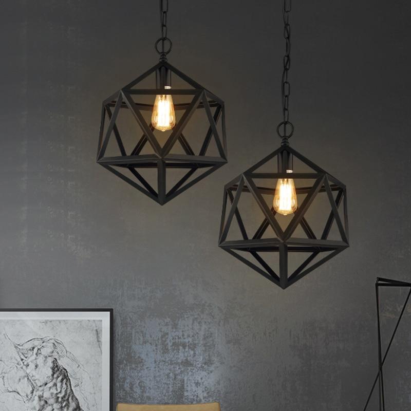 free shipping industrial loft style pendant lights matte bla