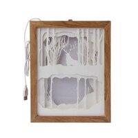 Papercut Light Box LED USB Night Light Lamp Creative Paintings Deer Woods L22