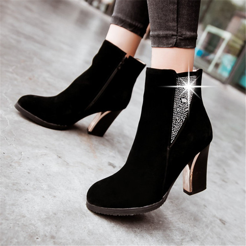 Plus size 34-43 Women Crystal Ankle Boot Square High Heels Short Boots Autumn Winter Snow Boots Dress Pumps Party Wedding Shoes стоимость
