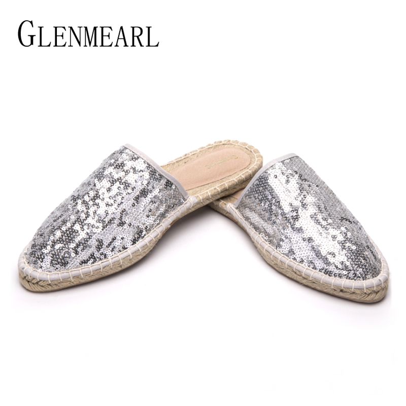 Genuine Leather Women Slippers Mules Shoes Straw Paillette Casual Flat Shoes Woman Pointed Toe Fishwerman Slippers Plus Size DE lace yoke frill trim open back dress