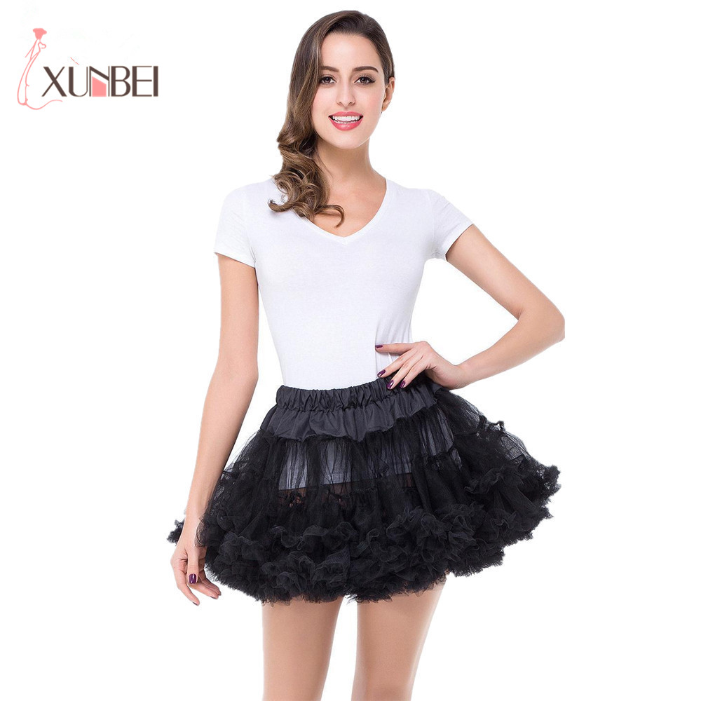 Negro Blanco rojo rosa corta de las mujeres de la boda enaguas enagua de tul corto falda Tutu para vestido de novia crinolina Jupon Saia