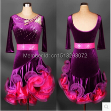 Latin dance costume senior dresses Velvet purple Elegant half sleeves dress for women latin diamond competition
