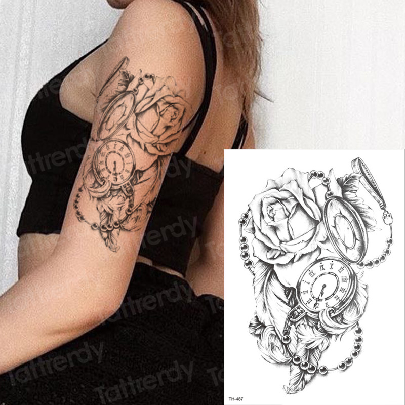 Temporary Tattoo Rose Women Girl Tattoo Sticker Clock Black 3D Body Art Tattoo Arm Sleeves Tatoo Water Transfer Tatto Sexy Girls