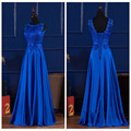Vestido De Festa De Casamento 2016 Lace And Taffeta Royal Blue Applique Sash Bow Bridesmaid Dresses Long Plus Size 2016 Cheap