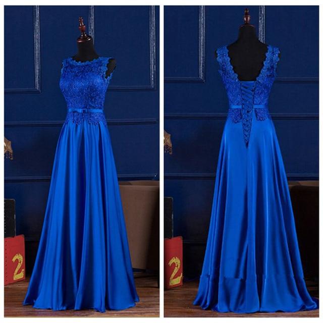 c25a8d67c Vestido De Festa De Casamento 2016 Rendas E Tafetá Azul Royal Applique Sash  Bow Dama de