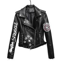2018 Women Autumn Bomber Jacket Coat Graffiti Women PU Leather Jackes Coat Tops For Women Coat Outerwear Chaqueta Mujer