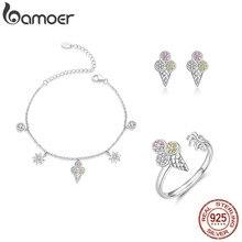 Bamoer 4 sztuk lody zestawy biżuterii dla kobiet lato kolekcja 925 srebro kolczyki pierścienie i naszyjnik ZHS117