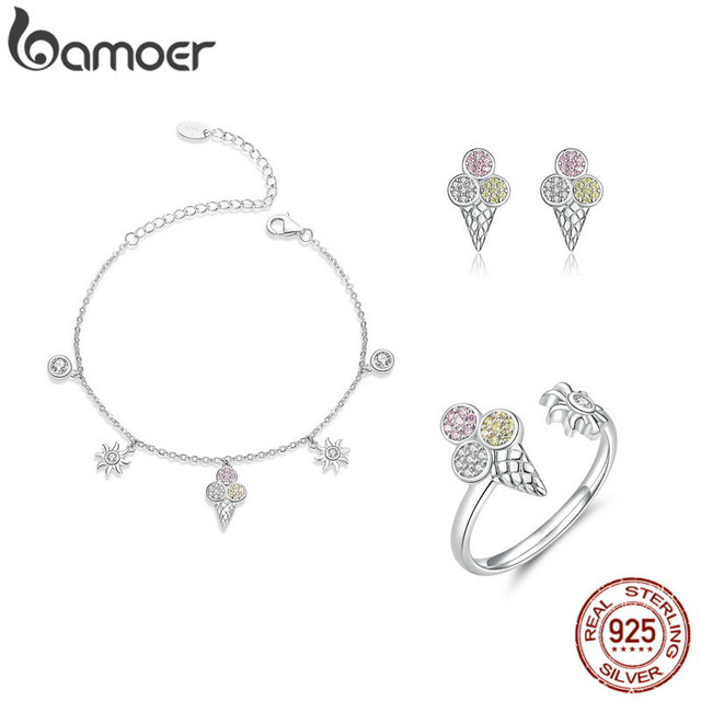 bamoer 4 pcs Ice Cream Jewelry Sets for Women Summer Collection 925 Sterling Silver Earrings Finger Rings and Necklace ZHS117