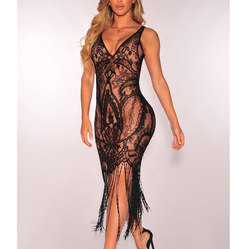 2019 Hot Women Sexy Tassel See-Through Hollow out Lace Crochet Bikini Swimwear Cover Up Summer Mini Bodycon Lace Beach Dress
