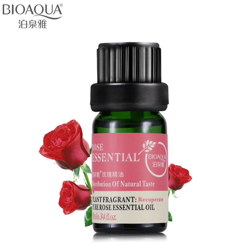 BIOAQUA Brand Pure Rose Essential Oil Liquid Plant Fragrance Moisturizing Perfume Face Body Skin Care Massage Essential Oil 10ml image