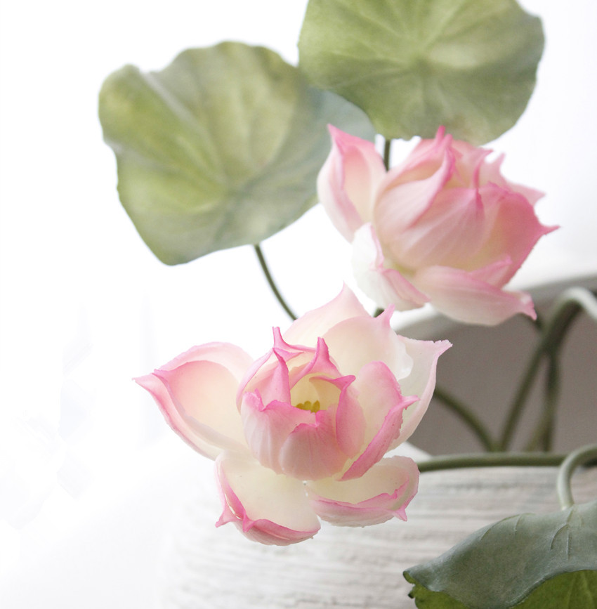 Simulation silicone flowers artificial fake lotus flower bouquet simulation silicone flowers artificial fake lotus flower bouquet with leaves wedding home floral arrangement in artificial dried flowers from home mightylinksfo
