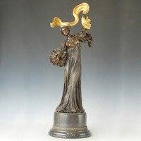 Классические женские статуя древний бронзовая скульптура танцы леди фигурка литью искусство коллекционирования офисной обстановкой