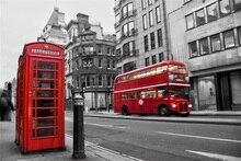Laeacco da Rua da Cidade de Ônibus Cabine Telefônica Vermelha Backdrops Para Estúdio de Fotografia Fotografia Fundos Fotográficos Personalizados