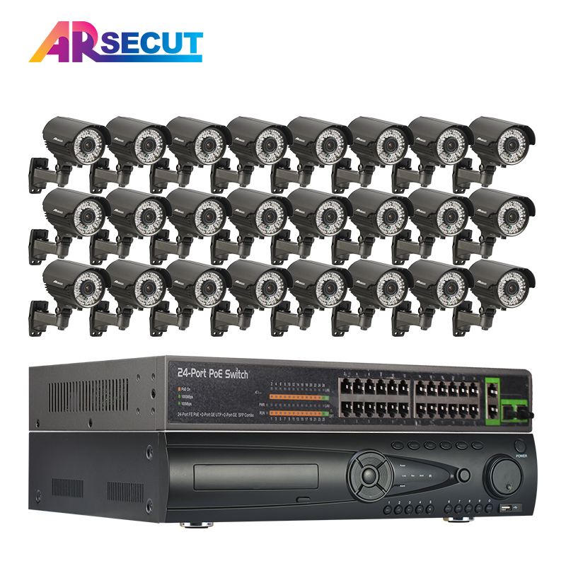 ARSECUT 1080P POE 24CH NVR 2.0MP HDMI Vandalproof Outdoor POE Dome Camera Home Video Rec ...