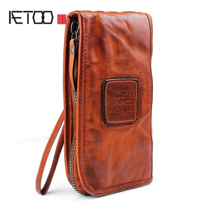 AETOO Original personality leather wallet men long section zipper purse cowhide leather Vintage Long Wallet Clutch Wrist aetoo handmade leather wallet men short section vertical zipper personality men money wallet youth tide male vintage wallet