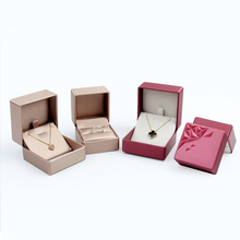 High grade wire drawing PU leather  jewelry box pendant case Stereoscopic Diamond Design Necklace Display Box 5pcs/lot