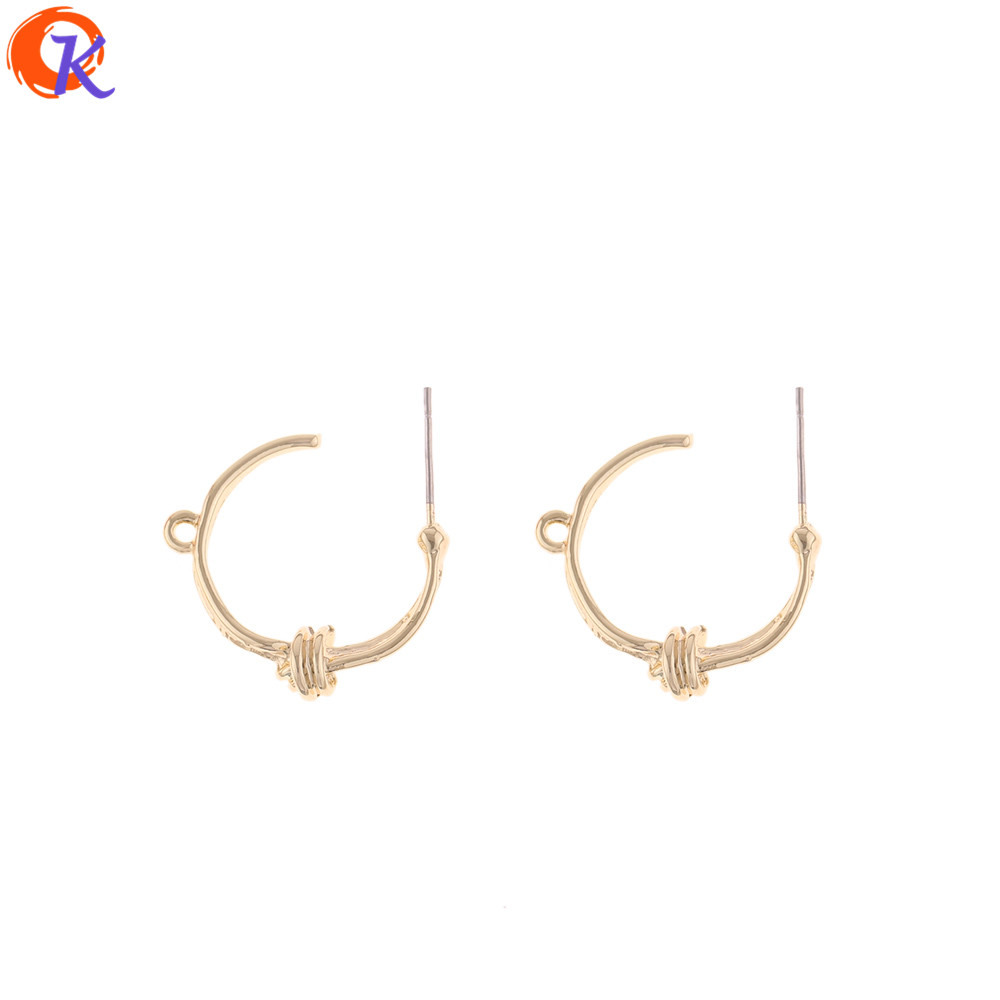 Cordial Design 100Pcs 22*26MM Jewelry Accessories/Earring Stud/Round Tie Shape/DIY Earring Making/Hand Made/Earring Findings