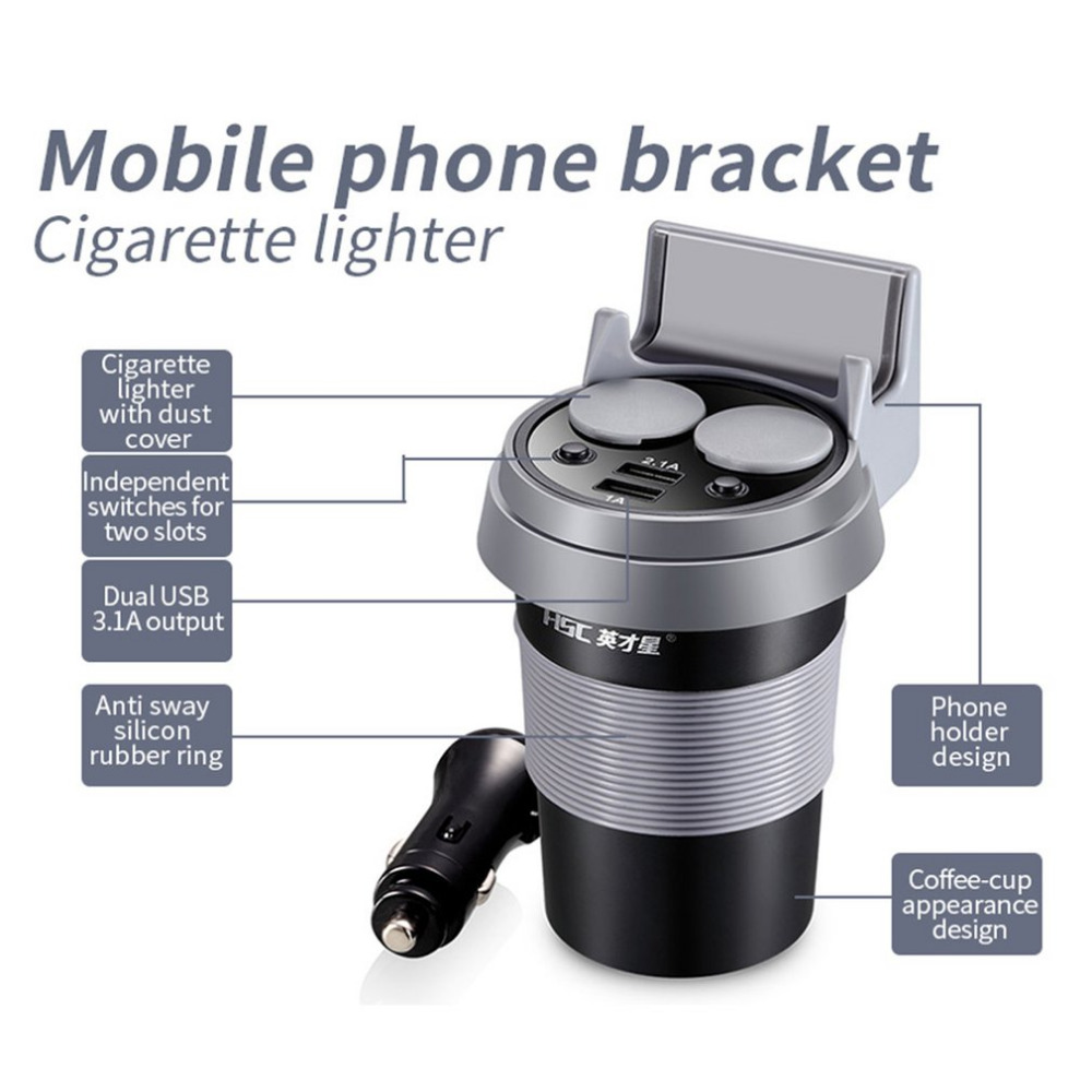 HSC HSC-500 latest car charger output dual USB 3.1 12-24v car charger car coffee cup holder cigarette lighter Portable Use
