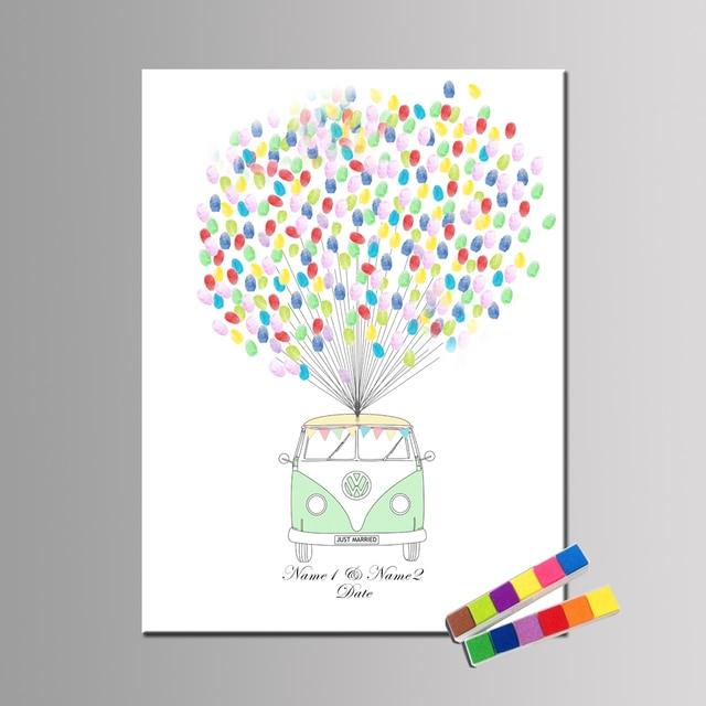 Autos Mit Den Worten Merrird Personalized Name Datum Fingerabdruck DIY  Gästebuch Für Hochzeit Valentinstag Ungerahmt HK089