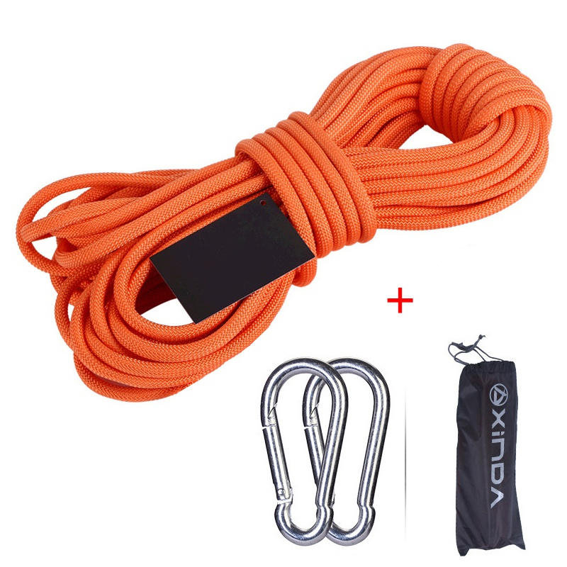 High Quality 30/20/15/10 Meters Rock Climbing 6mm Tree Wall Climbing Gear Outdoor Survival Fire Escape Safety Rope Carabiner