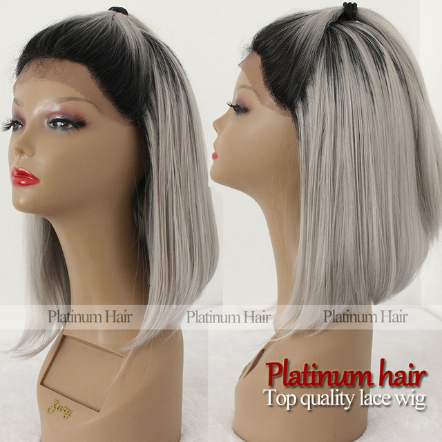 Lace Front Lace Wig Ombre Wigs Bob Short Synthetic Gray Hair