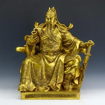 MOEHOMESArt collection Chinese home Decorated Brass Carved Guangong Sculpture /metal handicraft gift
