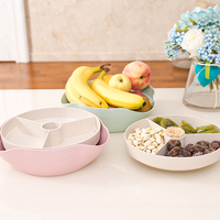 Snacks Fruit Storage Boxes Wheat Straw Divided Food Tray Finisher Holder Home Organizer Accessories Supplies Gear