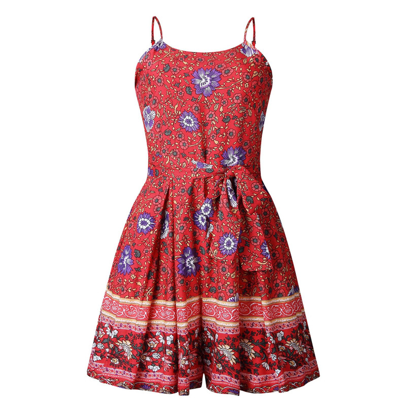 Leviortin Designer Jumpsuit High Quality Women Floral Romper With Belt Bohemian Strapless Boho Flower Print Beach Playsuit  (7)