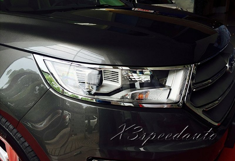 Free Shipping Chromed Front Head font b Light b font Cover Trim For Ford Edge 2015
