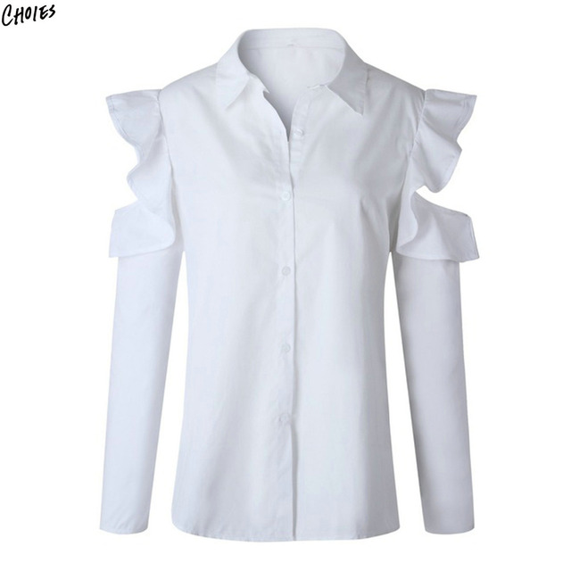 94d1abad283 White Cold Shoulder Ruffle Long Sleeve Shirt Women Buttons up Front Turn  Down Collar Casual Hollow Out Fall Blouse Top