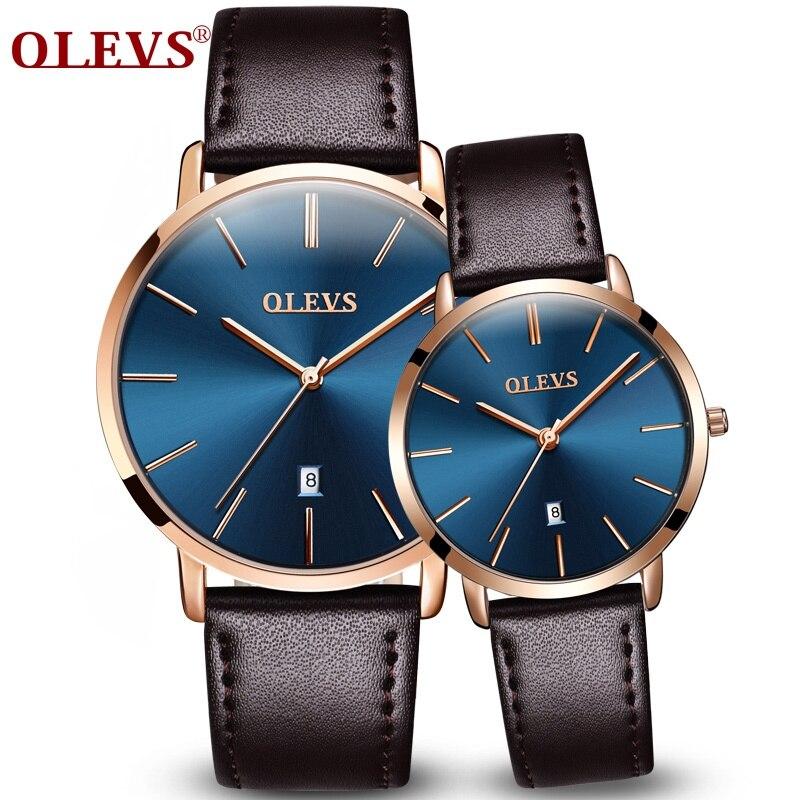 OLEVS Top marque de luxe Femmes Montres Dames Hommes Montre relogio feminino masculino Utra mince Mode Véritable En Cuir Couple montre